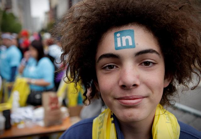 LinkedIn Tattoo On Forehead