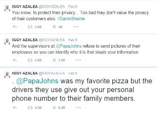 iggy azalea papa johns tweets