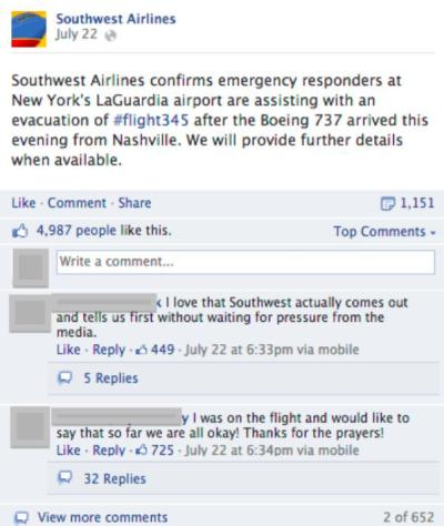 southwest airlines facebook post